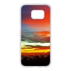 Sunset Mountain Indonesia Adventure Samsung Galaxy S7 Edge White Seamless Case by Celenk