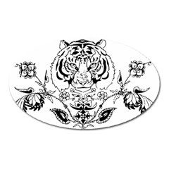 Tiger Animal Decoration Flower Oval Magnet by Celenk