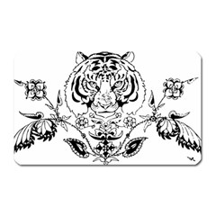 Tiger Animal Decoration Flower Magnet (rectangular) by Celenk