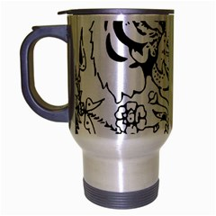 Tiger Animal Decoration Flower Travel Mug (silver Gray) by Celenk