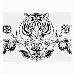 Tiger Animal Decoration Flower Large Glasses Cloth (2 Side) by Celenk