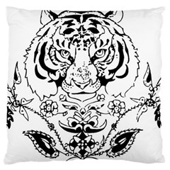 Tiger Animal Decoration Flower Large Flano Cushion Case (one Side) by Celenk