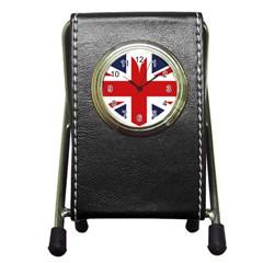 Uk Flag United Kingdom Pen Holder Desk Clocks by Celenk