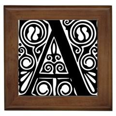 Alphabet Calligraphy Font A Letter Framed Tiles by Celenk