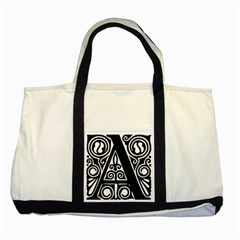 Alphabet Calligraphy Font A Letter Two Tone Tote Bag by Celenk