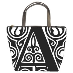 Alphabet Calligraphy Font A Letter Bucket Bags by Celenk