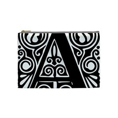 Alphabet Calligraphy Font A Letter Cosmetic Bag (medium)  by Celenk