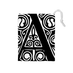 Alphabet Calligraphy Font A Letter Drawstring Pouches (medium)  by Celenk
