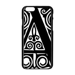 Alphabet Calligraphy Font A Letter Apple Iphone 6/6s Black Enamel Case by Celenk