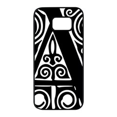 Alphabet Calligraphy Font A Letter Samsung Galaxy S7 Edge Black Seamless Case by Celenk