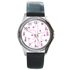 Arrows Girly Pink Cute Decorative Round Metal Watch