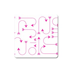 Arrows Girly Pink Cute Decorative Square Magnet by Celenk