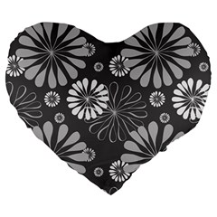 Floral Pattern Floral Background Large 19  Premium Heart Shape Cushions by Celenk
