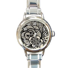 Background Abstract Beige Black Round Italian Charm Watch by Celenk