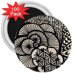 Background Abstract Beige Black 3  Magnets (100 Pack) by Celenk