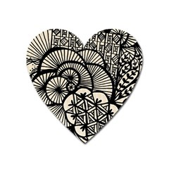 Background Abstract Beige Black Heart Magnet by Celenk