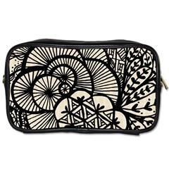 Background Abstract Beige Black Toiletries Bags by Celenk