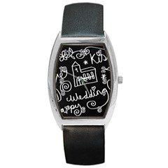 Wedding Chalkboard Icons Set Barrel Style Metal Watch by Celenk