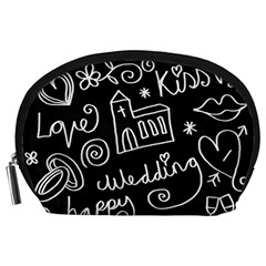 Wedding Chalkboard Icons Set Accessory Pouches (large)  by Celenk