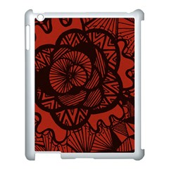 Background Abstract Red Black Apple Ipad 3/4 Case (white) by Celenk