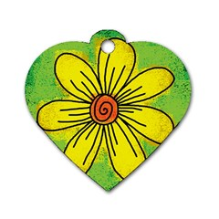 Flower Cartoon Painting Painted Dog Tag Heart (one Side) by Celenk