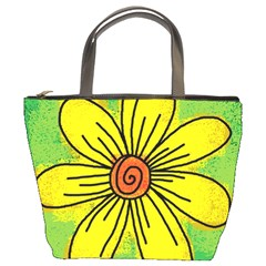 Flower Cartoon Painting Painted Bucket Bags by Celenk