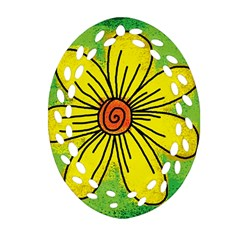 Flower Cartoon Painting Painted Ornament (oval Filigree) by Celenk