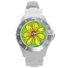 Flower Cartoon Painting Painted Round Plastic Sport Watch (l) by Celenk