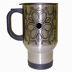 Pattern Zentangle Handdrawn Design Travel Mug (silver Gray) by Celenk