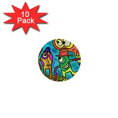 Painting Painted Ink Cartoon 1  Mini Buttons (10 Pack)  by Celenk