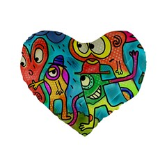 Painting Painted Ink Cartoon Standard 16  Premium Flano Heart Shape Cushions by Celenk