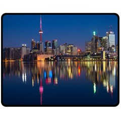 Buildings Can Cn Tower Canada Double Sided Fleece Blanket (medium)  by Celenk