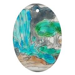 Doodle Sketch Drawing Landscape Ornament (oval) by Celenk