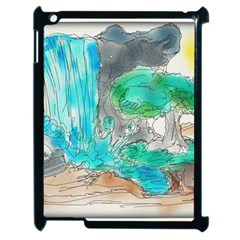 Doodle Sketch Drawing Landscape Apple Ipad 2 Case (black) by Celenk