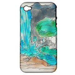 Doodle Sketch Drawing Landscape Apple Iphone 4/4s Hardshell Case (pc+silicone) by Celenk
