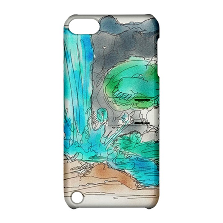 Doodle Sketch Drawing Landscape Apple iPod Touch 5 Hardshell Case with Stand
