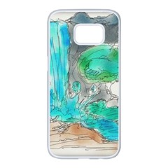Doodle Sketch Drawing Landscape Samsung Galaxy S7 Edge White Seamless Case by Celenk