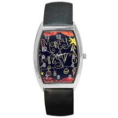 Chalk Chalkboard Board Frame Barrel Style Metal Watch by Celenk