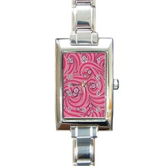 Pattern Doodle Design Drawing Rectangle Italian Charm Watch