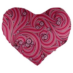 Pattern Doodle Design Drawing Large 19  Premium Heart Shape Cushions