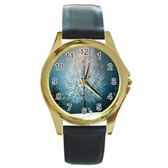 Winter Wintry Snow Snow Landscape Round Gold Metal Watch by Celenk