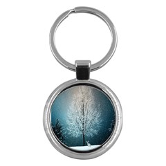 Winter Wintry Snow Snow Landscape Key Chains (round)  by Celenk