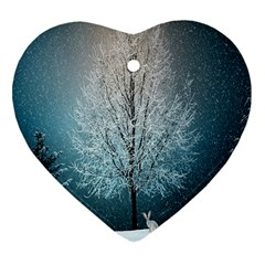Winter Wintry Snow Snow Landscape Heart Ornament (two Sides) by Celenk