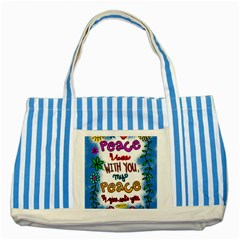 Christian Christianity Religion Striped Blue Tote Bag by Celenk