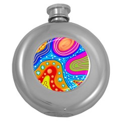 Abstract Pattern Painting Shapes Round Hip Flask (5 Oz) by Celenk