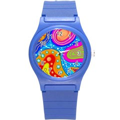 Abstract Pattern Painting Shapes Round Plastic Sport Watch (s) by Celenk