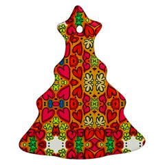 Abstract Background Pattern Doodle Christmas Tree Ornament (two Sides)