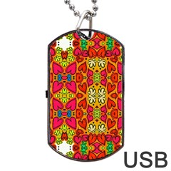 Abstract Background Pattern Doodle Dog Tag Usb Flash (two Sides) by Celenk