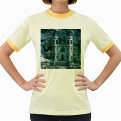 Church Stone Rock Building Women s Fitted Ringer T-Shirts