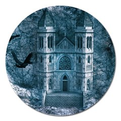 Church Stone Rock Building Magnet 5  (Round)